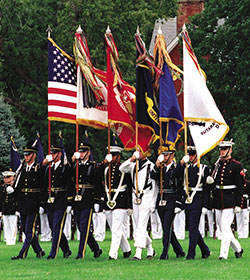 Joint Service Color Guard advances colors during retirement ceremony of Chairman of the Joint Chiefs of Staff General Henry H. Shelton, Fort Myer, Virginia, October 2, 2001
