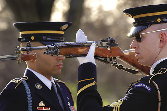 A member of the 3rd U.S. Infantry, The Old Guard, inspects a relieving guard's rifle before his watch at the Tomb of the Unknown Soldier, Arlington National Cemetery, January 9, 2008