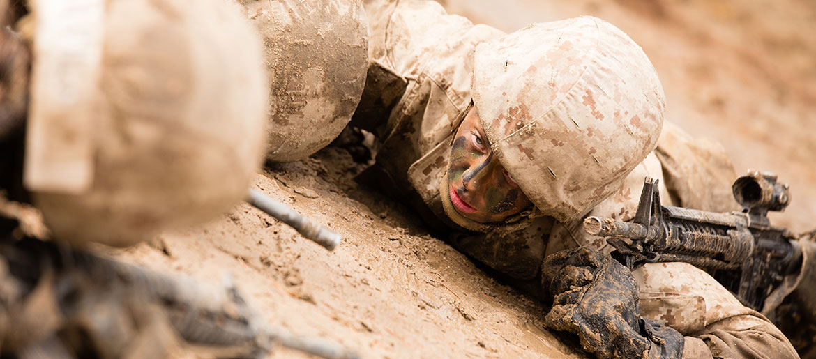 Marine recruit Maria Daume, Platoon 4001, Papa Company, 4th Recruit Training Battalion, drags simulated casualty on combat training course during Crucible, January 5, 2017, Parris Island, South Carolina (U.S. Marine Corps/Greg Thomas)