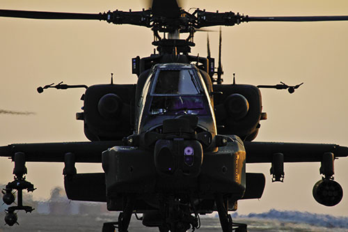 AH-64 Apache attack helicopter at Bagram Airfield after conducting armed reconnaissance operations and precision air strikes (U.S. Air Force/Matt Hecht)