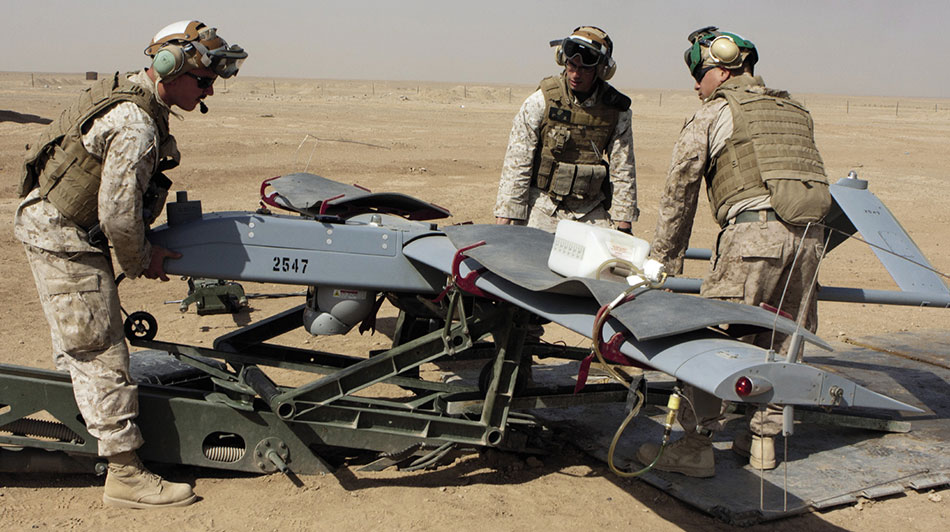 Marines load RQ-7B Shadow UAV onto launching ramp, Camp Leatherneck, Helmand Province (U.S. Marine Corps/Robert R. Carrasco)