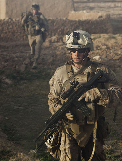 U.S. Marines patrol during cordon and search mission in Habib Abad, Helmand Province <br />(DOD/Anthony L. Ortiz)