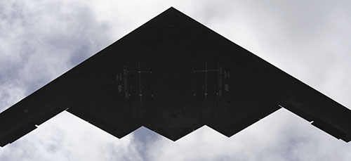 B-2 Spirit over Andersen Air Force Base in Guam as part of continuing operations to maintain bomber presence in region (U.S. Air Force/Kevin J. Gruenwald)
