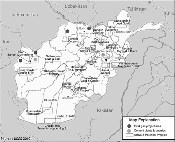 Afghanistan: Major Mineral Occurences