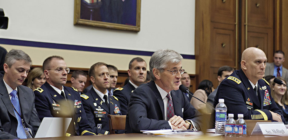 Army Secretary John McHugh (speaking) and Army Chief of Staff General Raymond T. Odierno testify before House Armed Services Committee (U.S. Army/Teddy Wade)