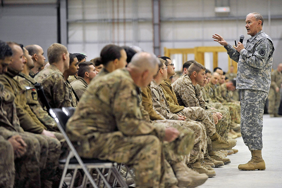 Chairman talks to Servicemembers at Bagram Airfield about the future of U.S. military operations in Afghanistan and force reductions (U.S. Air Force/Gary J. Rihn)