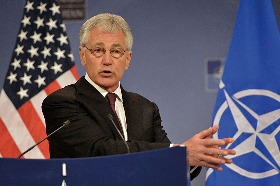 Secretary Hagel conducts news conference regarding Afghanistan and evolving crisis in Ukraine at NATO defense ministerial meeting (DOD/Glenn Fawcett)