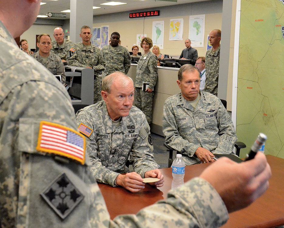 Chairman and General Fraser briefed on current mission of U.S. Army Military Surface Deployment and Distribution mission (USTRANSCOM /Bob Fehringer)