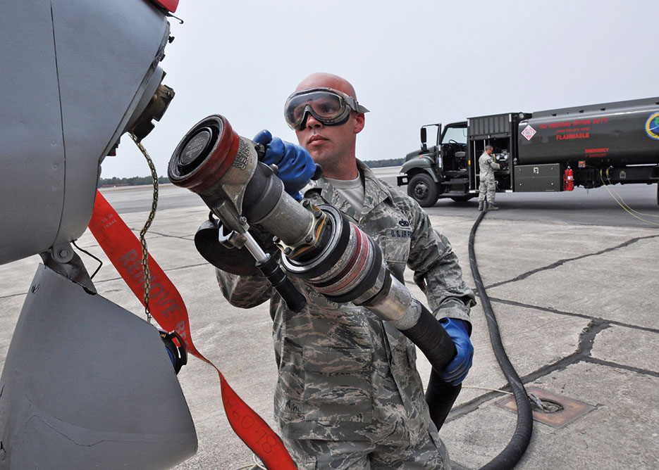 Airman prepares to fuel A-10C Thunderbolt II with 50/50 blend of Hydrotreated Renewable Jet and JP-8; plane then flew first flight of aircraft powered solely by biomass-derived jet fuel blend (U.S. Air Force/Samuel King, Jr.)