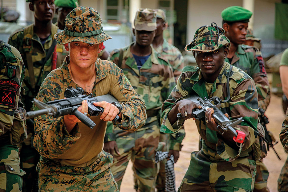 Senegalese marine commandos and U.S. Marines conduct martial arts training during Africa Partnership Station 13 (U.S. Marine Corps/Marco Mancha)