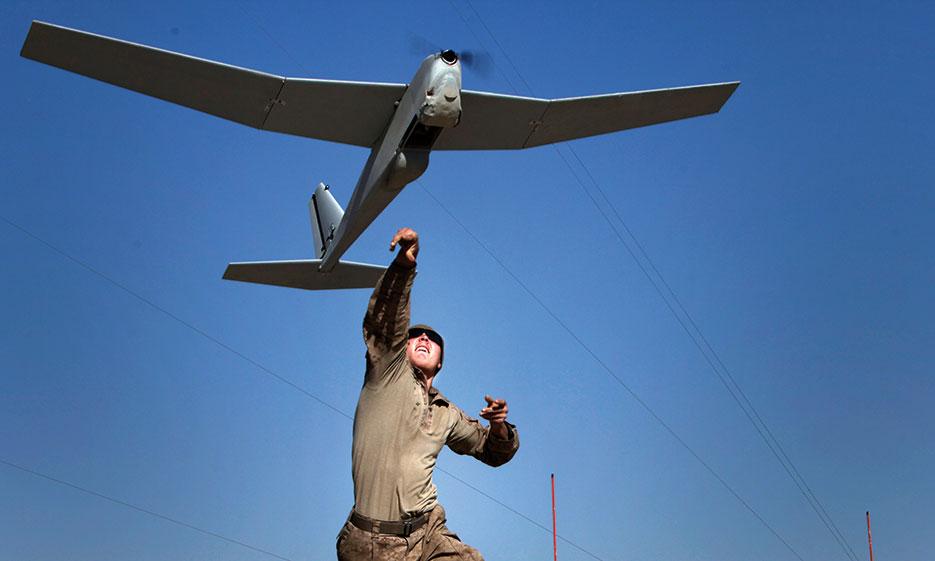 Marine launches Puma unmanned aircraft system at Patrol Base Boldak (U.S. Marine Corps/Bobby J. Yarbrough)
