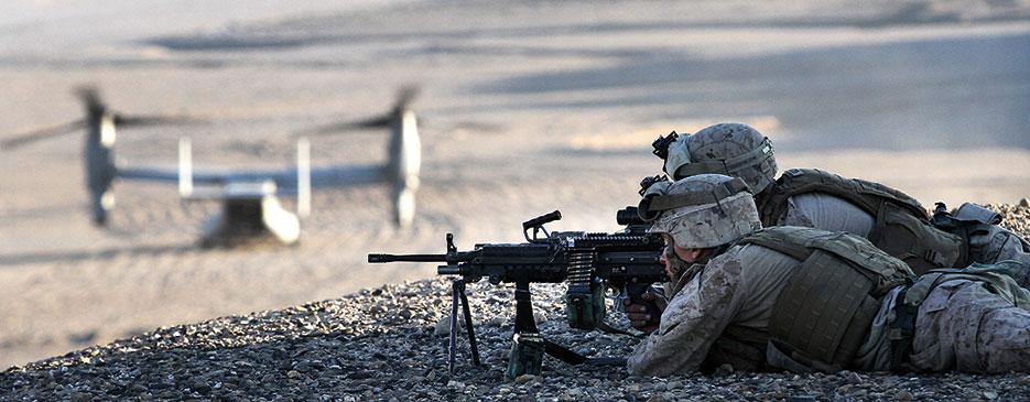 Marines provide security at landing zone near Boldak, Afghanistan, during Operation Pegasus II (U.S. Marine Corps/Austin Long)
