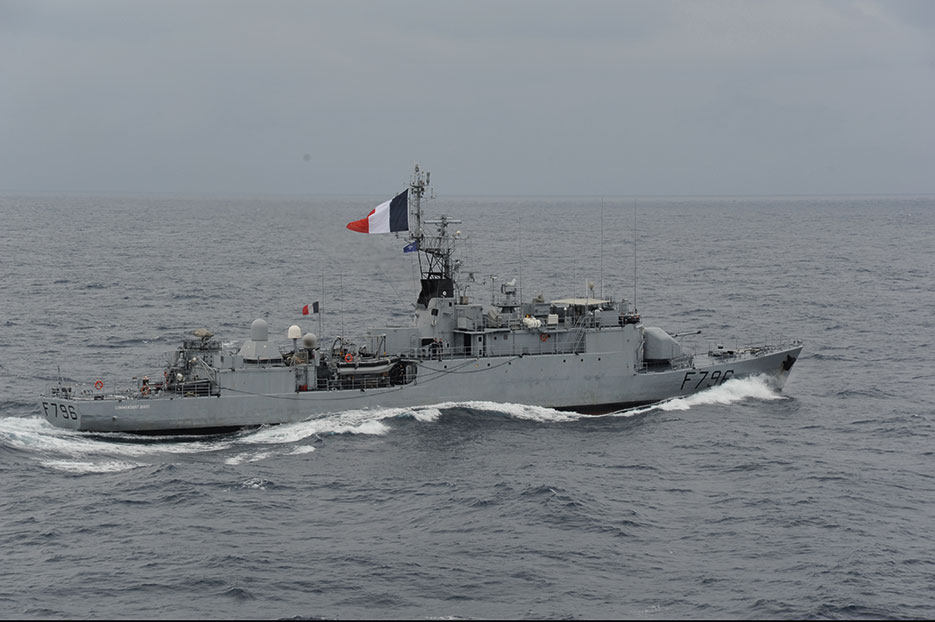French corvette FS Commandant Birot, attached to NATO Maritime Task Force 455, operates in Mediterranean Sea during Operation Unified Protector (Italian Navy)