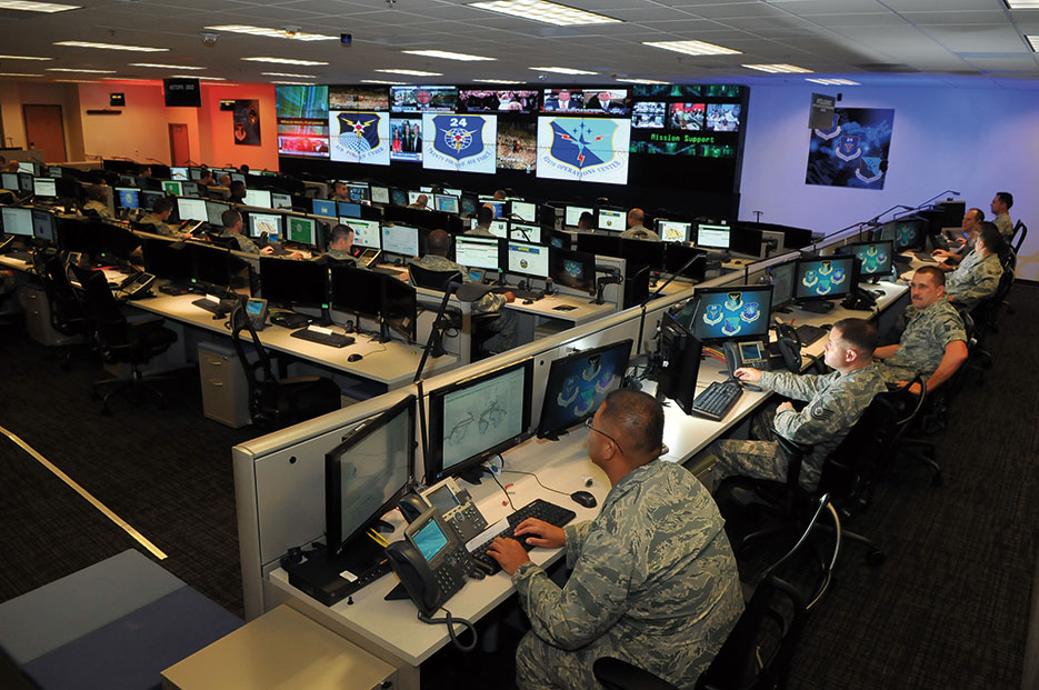 Airmen conduct cyber operations at Joint Base San Antonio–Lackland in support of command and control and network operations (U.S. Air Force/William Belcher)