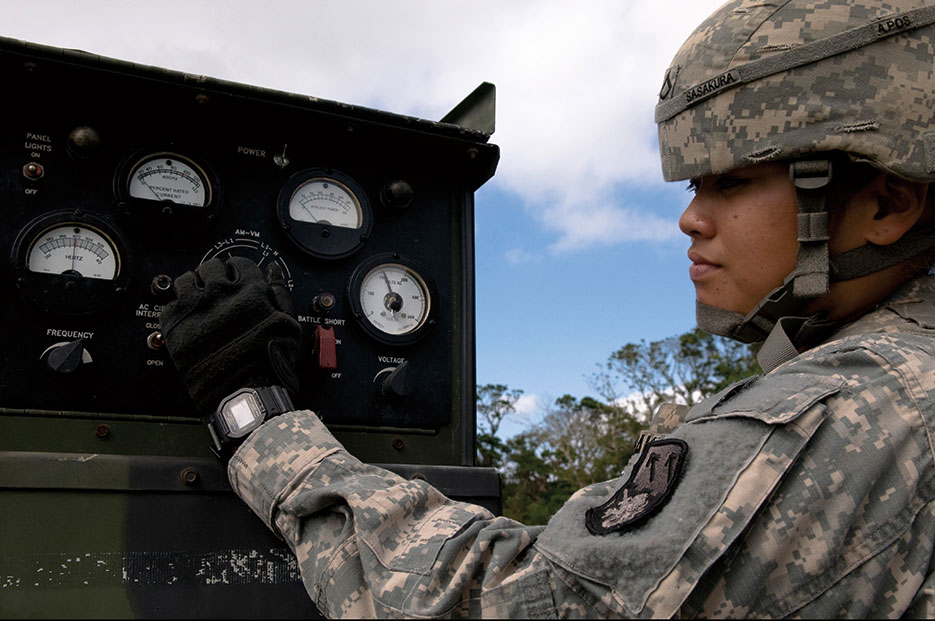 Patriot Missile operator adjusts launcher settings during field training (U.S. Air Force/Maeson Elleman)