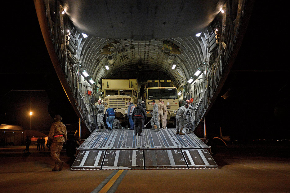 Patriot missile mobile launcher and air defense equipment deployed to U.S. and NATO Patriot missile batteries at Incirlik Air Base, Turkey (U.S. Air Force/Charles Larkin, Sr.)