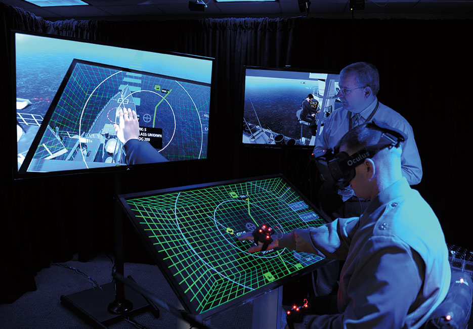 Office of Naval Research Project BlueShark creates high-tech, futuristic environment to demonstrate what operational work environments might look like and what emerging innovative technologies might provide in next decade (U.S. Navy/John F. Williams)