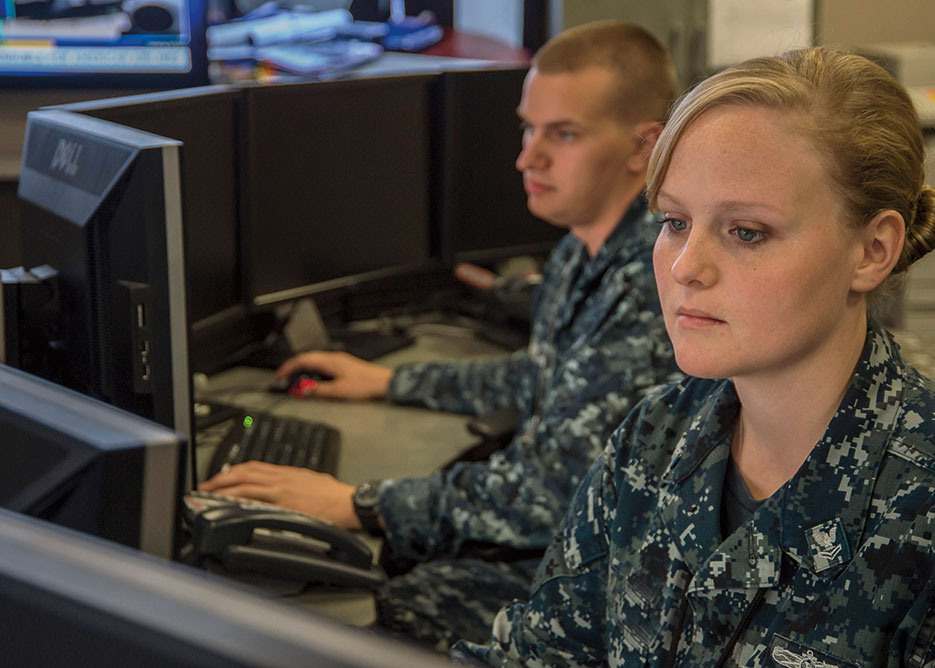 Sailors conduct duties at U.S. Fleet Cyber Command Maritime Operations Center, Fort Meade, Maryland (DOD)