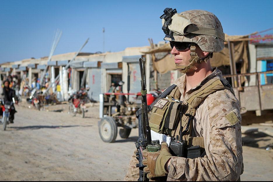 Marine Corps second lieutenant patrols bazaar in Khan Neshin, Afghanistan (U.S. Marine Corps/Michael Cifuentes)