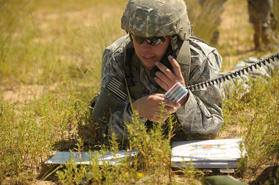 Army first lieutenant establishes radio contact during joint operational access exercise at Fort Bragg (U.S. Air Force/Quinton Russ)