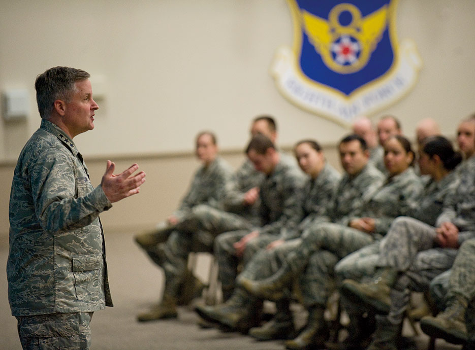 Chief of warfighting integration and chief information officer for Office of Secretary of Air Force discusses cyber security during seminar at Barksdale Air Force Base (U.S. Air Force/Chad Warren)