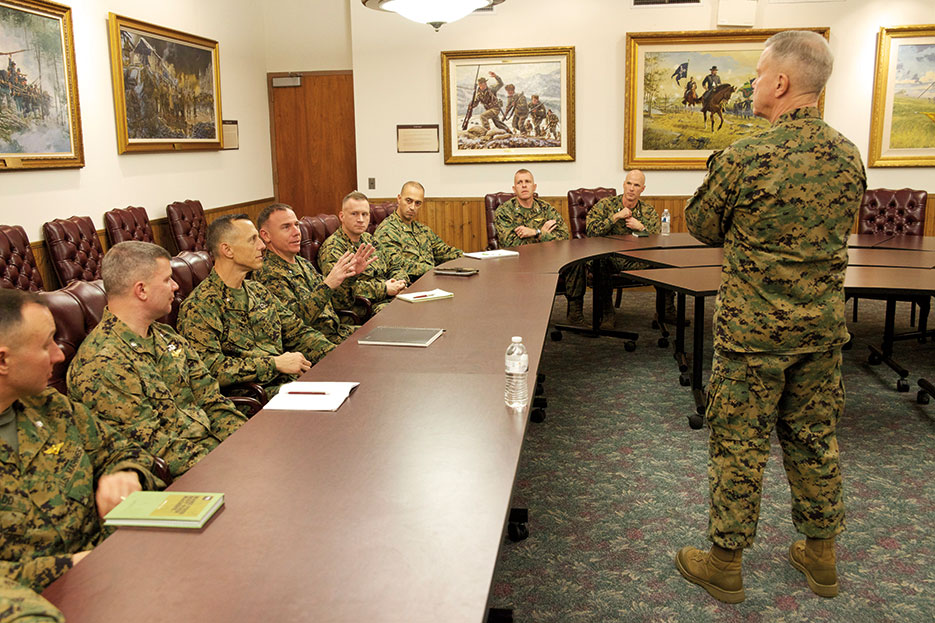 Marine Corps Commandant General James F. Amos addresses Marine students in commandant's conference room at U.S. Army War College (U.S. Marine Corps/Mallory S. VanderSchans)