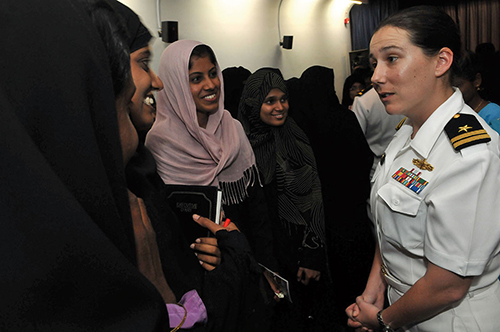 Arleigh Burke–class guided-missile destroyer USS Decatur operations officer answers questions during port visit in Chennai, India, to commemorate Women's History Month (U.S. Navy/Jennifer A. Villalovos)