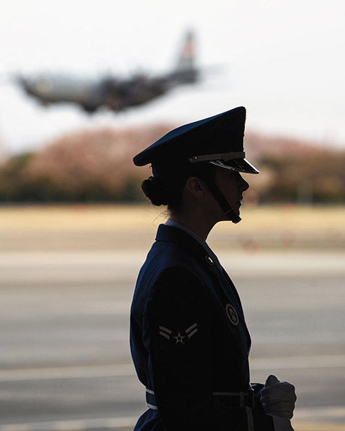 Airman 1st Class waits for moment to present Colors at Yokota Air Base, Japan (U.S. Air Force/Osakabe Yasuo)