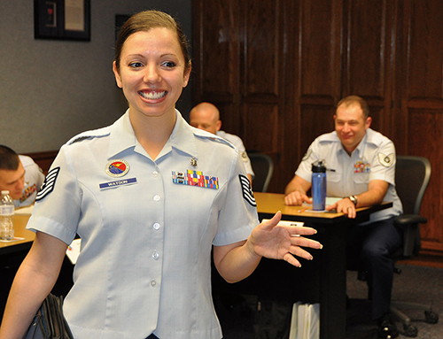 Technical Sergeant Liesbeth Watson, professional military education instructor at Airey NCO Academy, Tyndall Air Force Base (U.S. Air Force)