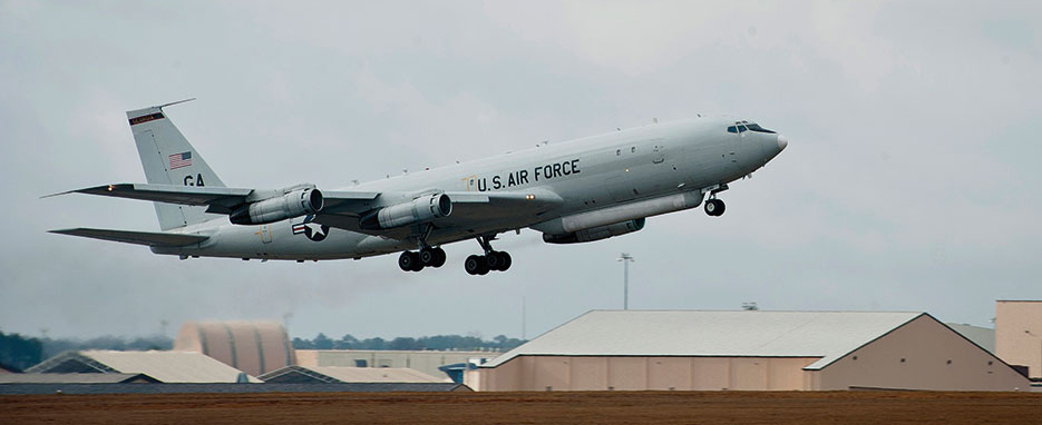 E8-C Joint Surveillance and Target Attack Radar System aircraft leaves Robins Air Force Base, Georgia (U.S. Air Force/Andrew Lee)