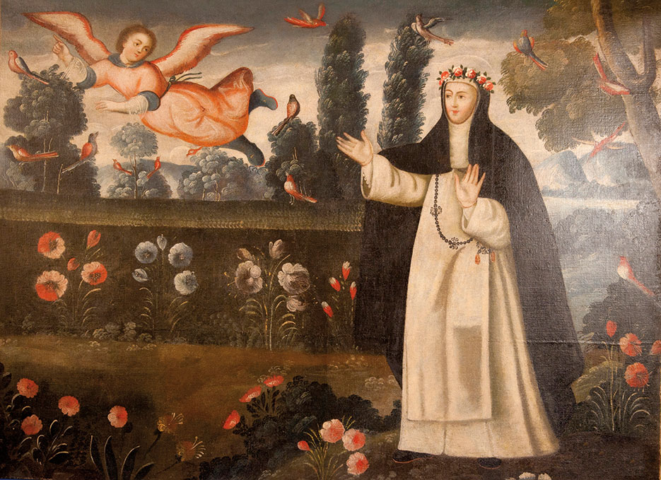 Repatriation ceremony including nine colonial paintings, monstrance, and four pre-Columbian objects marks return of collection of cultural property, art, and antiquities looted from Peru; pictured: Saint Rose of Lima painting (ICE/Paul Caffrey)