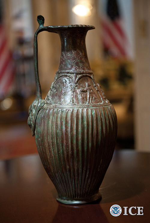 U.S. Immigration and Customs Enforcement repatriate gold artifacts and ancient vase, discovered by special agents to be destined for New York business suspected of dealing in looted cultural property, to Afghanistan government (ICE/Paul Caffrey)