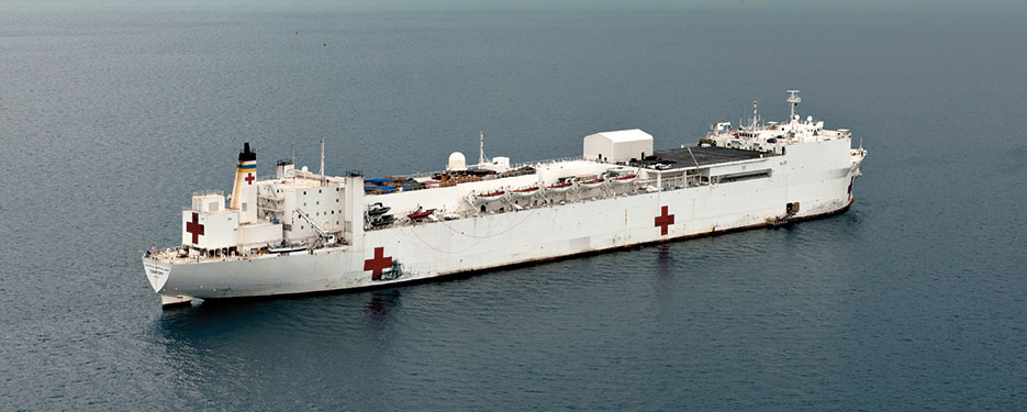 USNS Comfort anchored off Port-au-Prince, Haiti, during Operation Continuing Promise (U.S. Navy/ Eric C. Tretter)