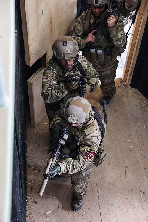 U.S. Special Forces Soldiers attached to Combined Joint Special Operations Task Force–Afghanistan prepare to enter and clear room while conducting close-quarter battle drill at shoot house in Kabul Province (U.S. Army/Connor Mendez)