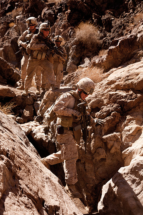 U.S. Marines escort U.S. and British geologists through rugged terrain in Helmand Province to find rare minerals in attempt to boost Afghanistan's economy (U.S. Marine Corps/Christopher R. Rye)