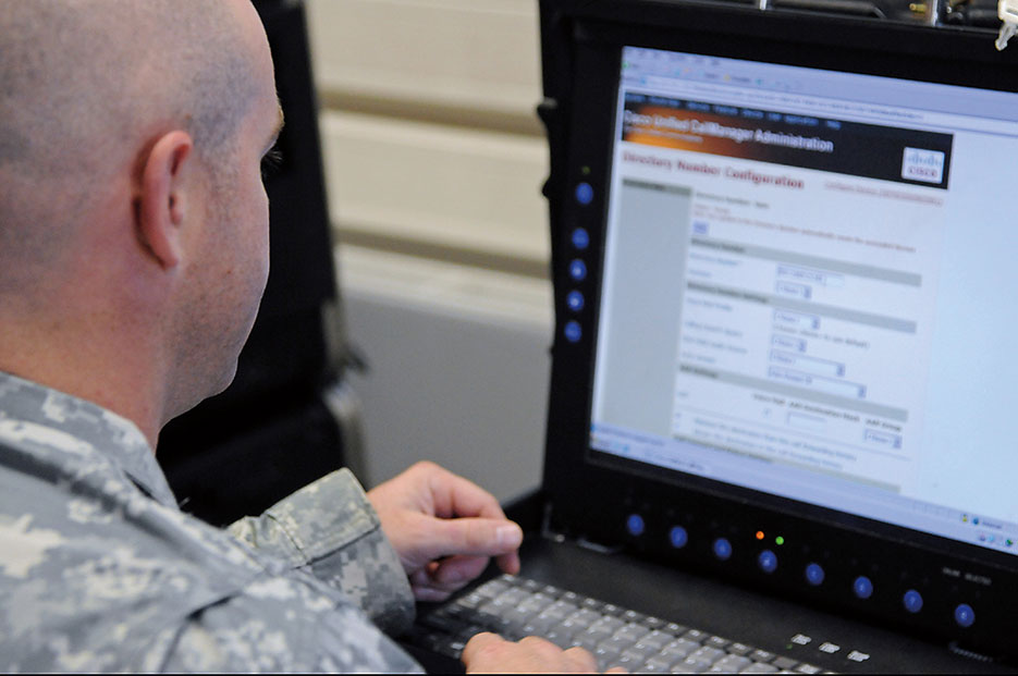 Soldier connects with call manager during Cyber Endeavor, annual exercise designed for multinational operations in European theater (U.S. Army/Shawnon Lott)