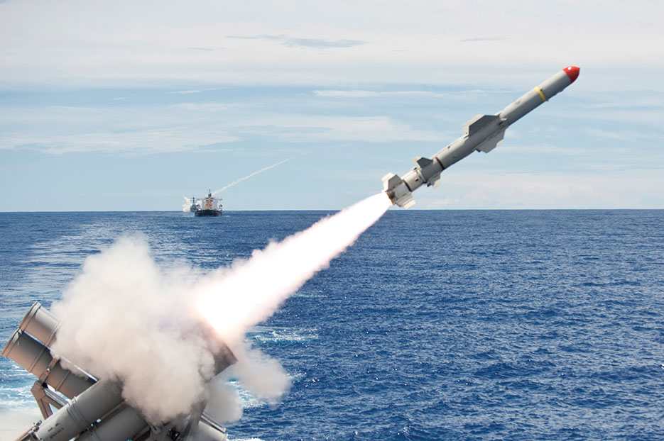 Forward deployed Ticonderoga-class guided-missile cruiser USS Cowpens launches Harpoon missile from aft missile deck as part of live-fire exercise in Valiant Shield 2012 (U.S. Navy/Paul Kelly)