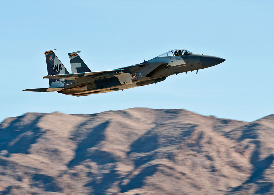 F-15 Eagle departs during mission employment phase exercise at Nellis Air Force Base that incorporates Air Force capabilities in diverse scenarios including aircraft with space and cyberspace assets (U.S. Air Force/Brett Clashman)