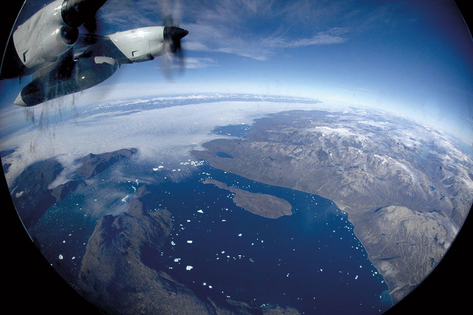 New York Air National Guard's 109th Airlift Wing flies LC-130 over Greenland on mission to resupply remote science research outposts (DOD/Fred W. Baker II)