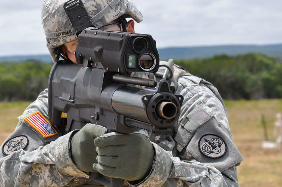 Soldier aims XM-25 weapon system, Aberdeen Test Center, Maryland (U.S. Army)