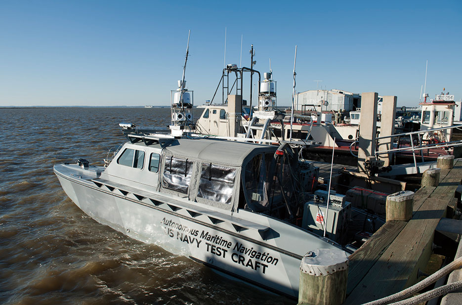 U.S. Navy unmanned surface vessel is equipped with cameras, computer systems, and nonlethal weapons during Trident Warrior (U.S. Navy/Betsy Knapper)