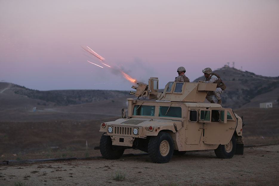 Marines from 1st Law Enforcement Battalion conduct first ever live fire with Non-Lethal/Tube-Launched Munition System, Camp Pendleton, California, September 2014 (U.S. Marine Corps/John Baker)