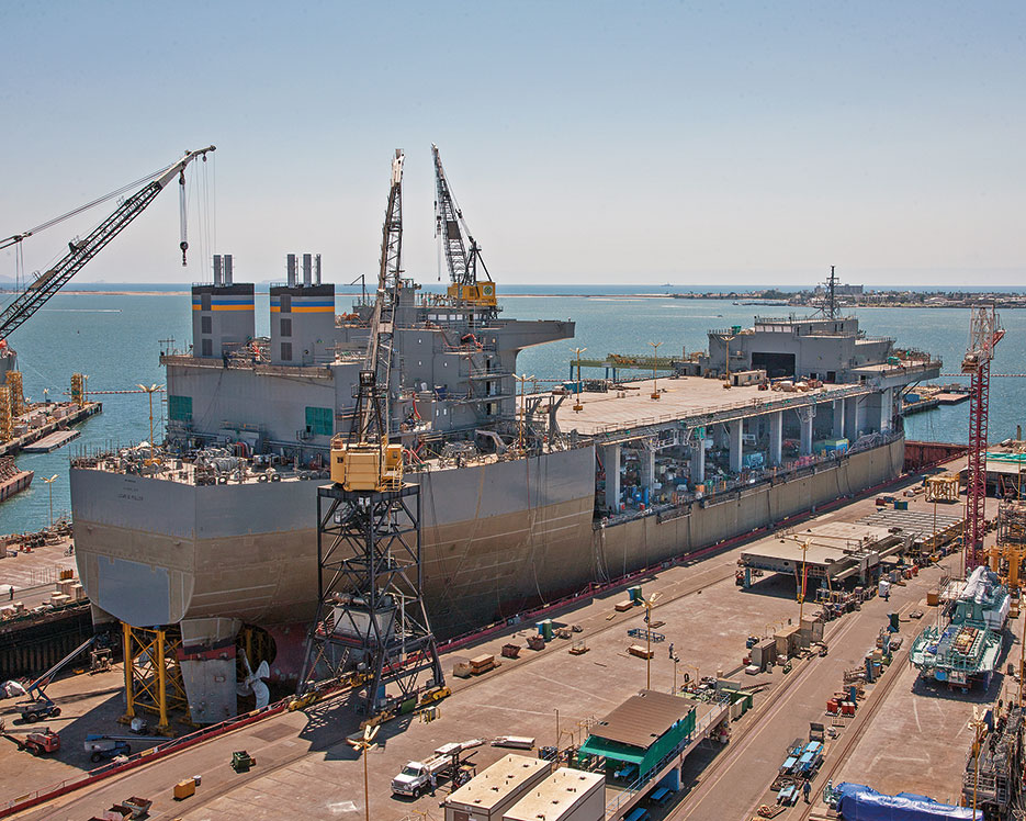USNS Lewis B. Puller, Mobile Landing Platform–3/Afloat Forward Staging Base–1, under construction at General Dynamics National Steel and Shipbuilding Company shipyard