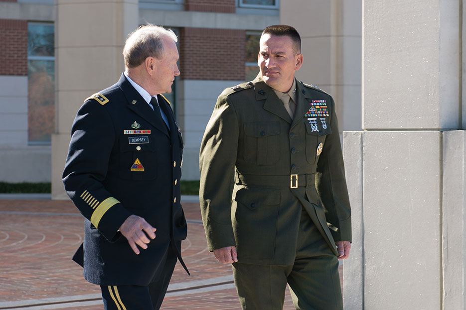 Chairman walks with Major General Frederick M. Padilla, USMC, after change of command ceremony in which Major General Padilla became 15th president of National Defense University, November 2014 (NDU/Katherine Lewis)