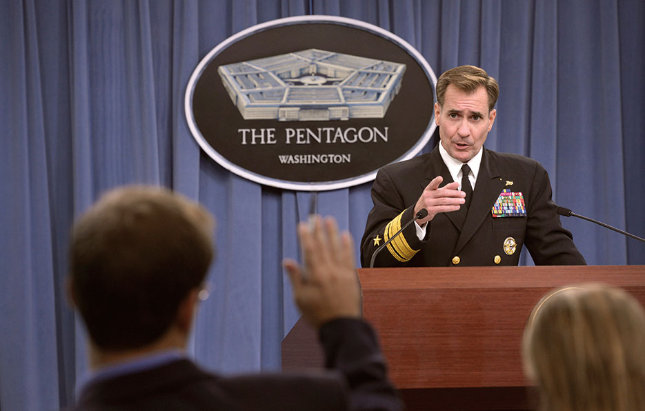 Pentagon Press Secretary Rear Admiral John Kirby answers questions for media during weekly press conference, October 2014 (DOD/Glenn Fawcett)