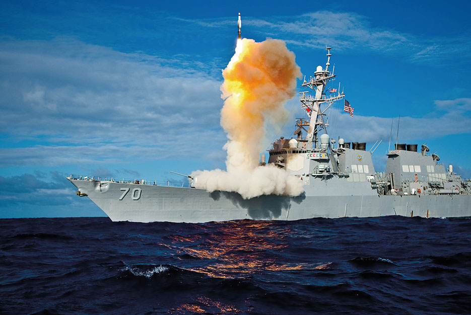 During exercise Stellar Avenger, Aegis-class destroyer USS Hopper launches Standard Missile–3 Blk IA, successfully intercepting subscale short-range ballistic missile, launched from Kauai Test Facility, Pacific Missile Range Facility, Barking Sans, Kauai (U.S. Navy)