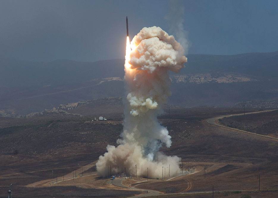 Missile Defense Agency's Flight Test 06b Ground-Based Interceptor launches from Vandenberg Air Force Base, June 2014 (U.S. Air Force/Michael Peterson)