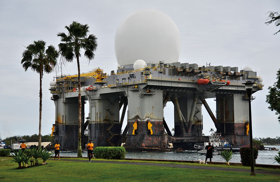 Sea-based X-band radar, world's largest phased-array X-band radar carried aboard mobile, ocean-going semisubmersible oil platform, transits waters of Joint Base Pearl Harbor–Hickam  (U.S. Navy/Daniel Barker)
