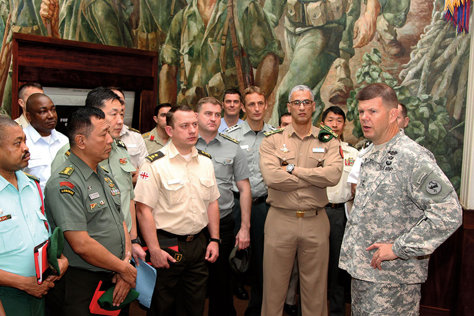 U.S. Army Pacific chief of staff welcomed 39 senior leaders participating in U.S. Army War College International Fellows program to Fort Shafter, Hawaii (U.S. Army/Kyle J. Richardson)