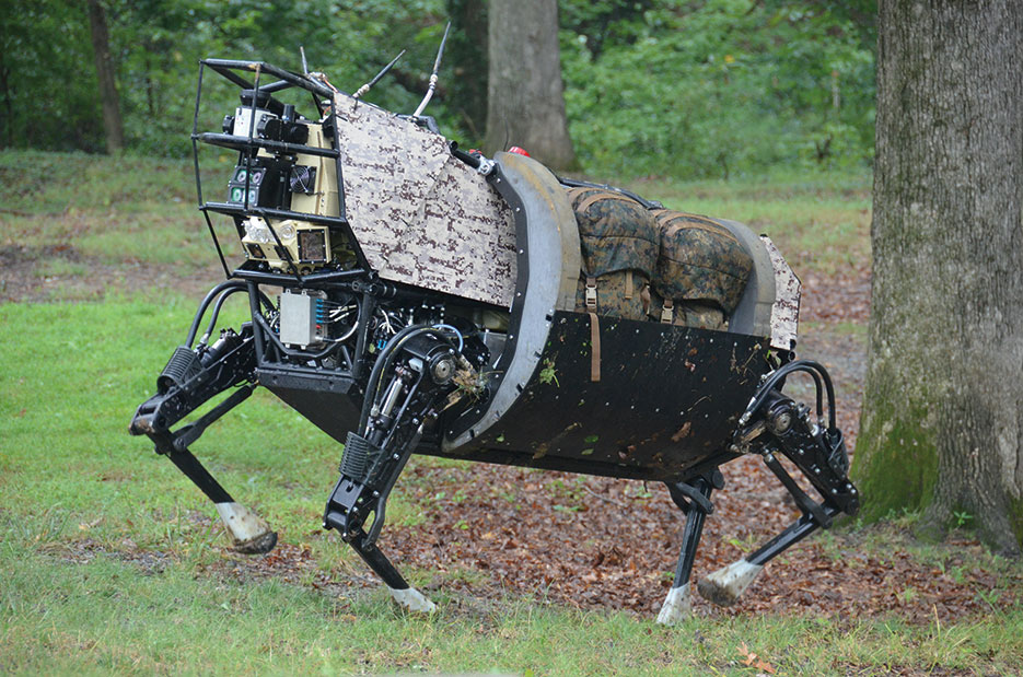 Legged Squad Support System (LS3) robots will go through same terrain as human squad without hindering mission (DARPA)